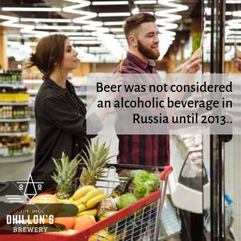 Beer was considered non-alcoholic till 2013 in Russia